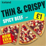 Iceland Thin and Crispy Spicy Beef Pizza 350g