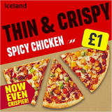 Iceland Thin and Crispy Spicy Chicken Pizza 345g