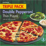Iceland Triple Pack Double Pepperoni Thin Pizza 960g