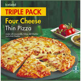 Iceland Triple Pack Four Cheese Thin Pizza 900g