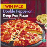 Iceland Twin Pack Double Pepperoni Deep Pan Pizza 692g