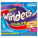 Kellogg's Fruit Winders Doubles Strawberry & Blackcurrant Rolls 5 x 17g