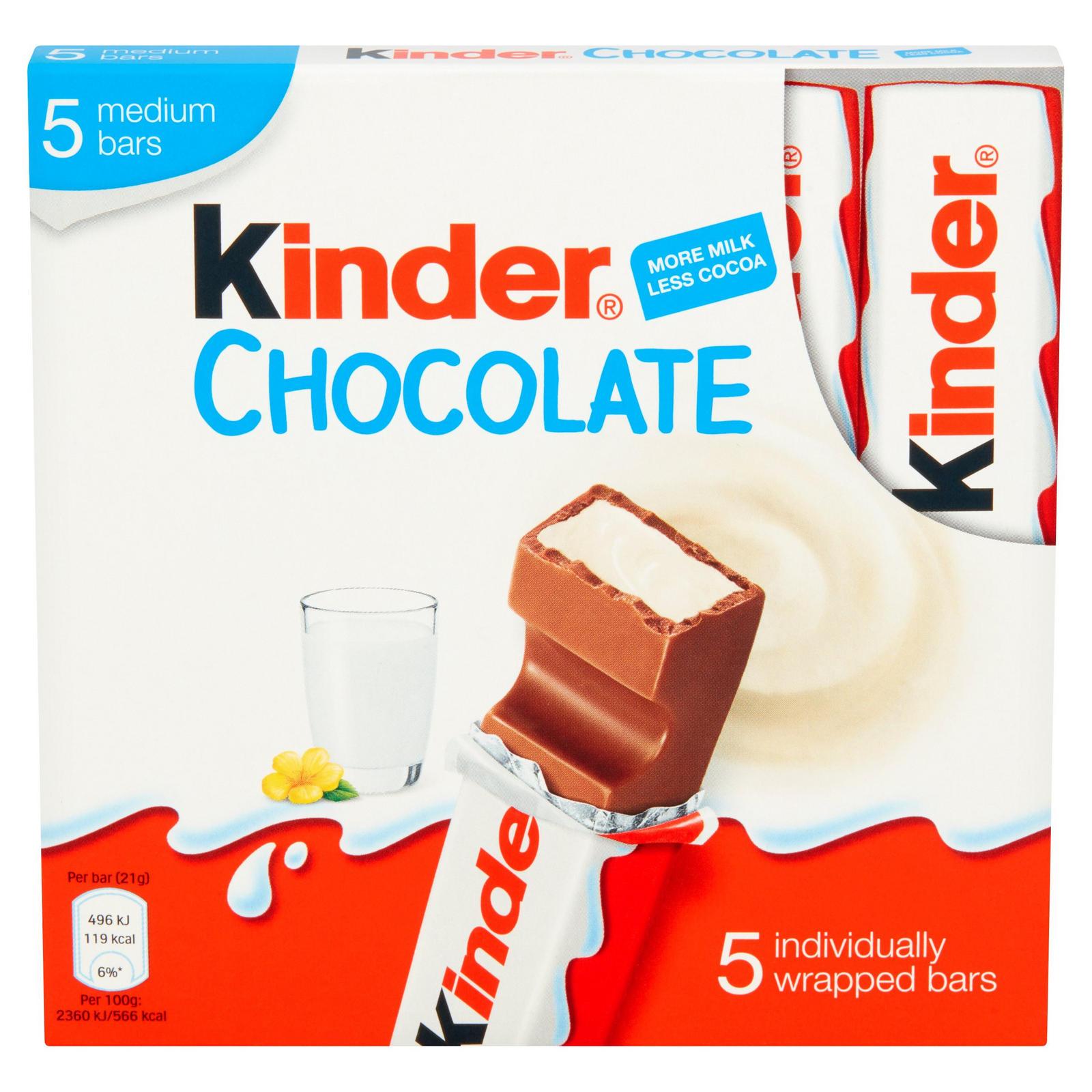 Kinder Medium Chocolate Multipack Bars 5 X 21g 105g