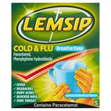 Lemsip Breathe Easy 5 Cold & Flu Lemon & Menthol Flavour