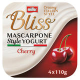 Müller Bliss Creamy Mascarpone Cherry Yogurt 4 x 110g (440g)