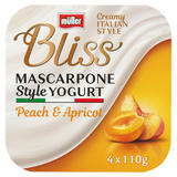 Müller Bliss Creamy Mascarpone Peach & Apricot Yogurt 4 x 110g (440g)