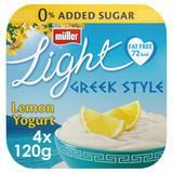 Muller Light Fat Free Greek Style Lemon Yogurts 4 x 120g