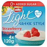 Muller Light Greek Style Strawberry Yogurt 4 x 120g