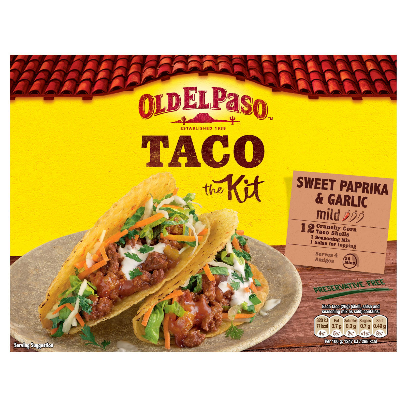 Old El Paso Garlic Paprika Crunchy Taco Kit 308g Mexican Sauces Meal Kits Iceland Foods