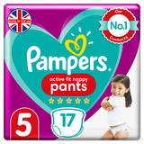Pampers Active Fit Nappy Pants Size 5, 17 Nappies, 12kg-17kg, Carry Pack