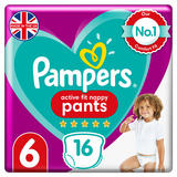 Pampers Active Fit Nappy Pants Size 6, 16 Nappies, 15kg+, Carry Pack