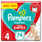 Pampers Baby-Dry Nappy Pants Size 4, 74 Nappies, 9kg-15kg, Jumbo+ Pack