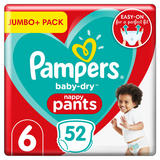 Pampers Baby-Dry Nappy Pants Size 6, 52 Nappies, 15+kg, Jumbo+ Pack