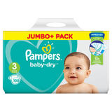 Pampers Baby-Dry Size 3, 100 Nappies, 6-10kg, Jumbo+ Pack