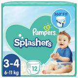 Pampers Splashers Size 3-4, 12 Disposable Swim Nappies, 6-11kg