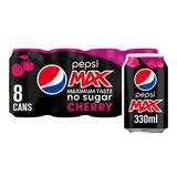 Pepsi Max Cherry No Sugar Cola Can 8 x 330ml