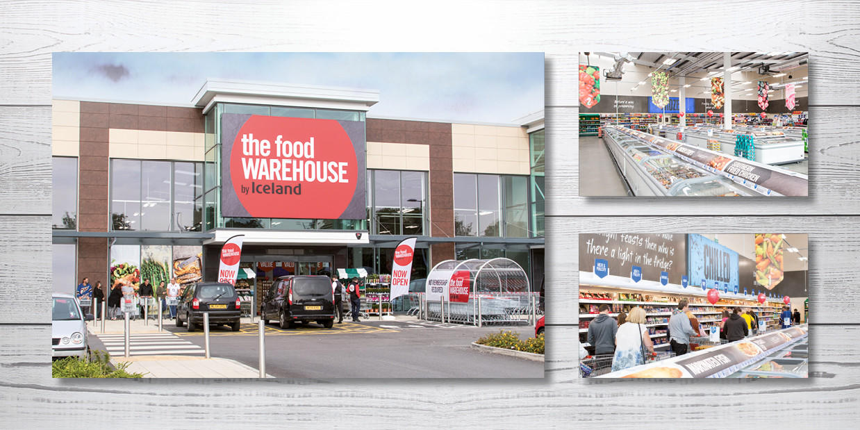 Montage of a Food Warehouse store