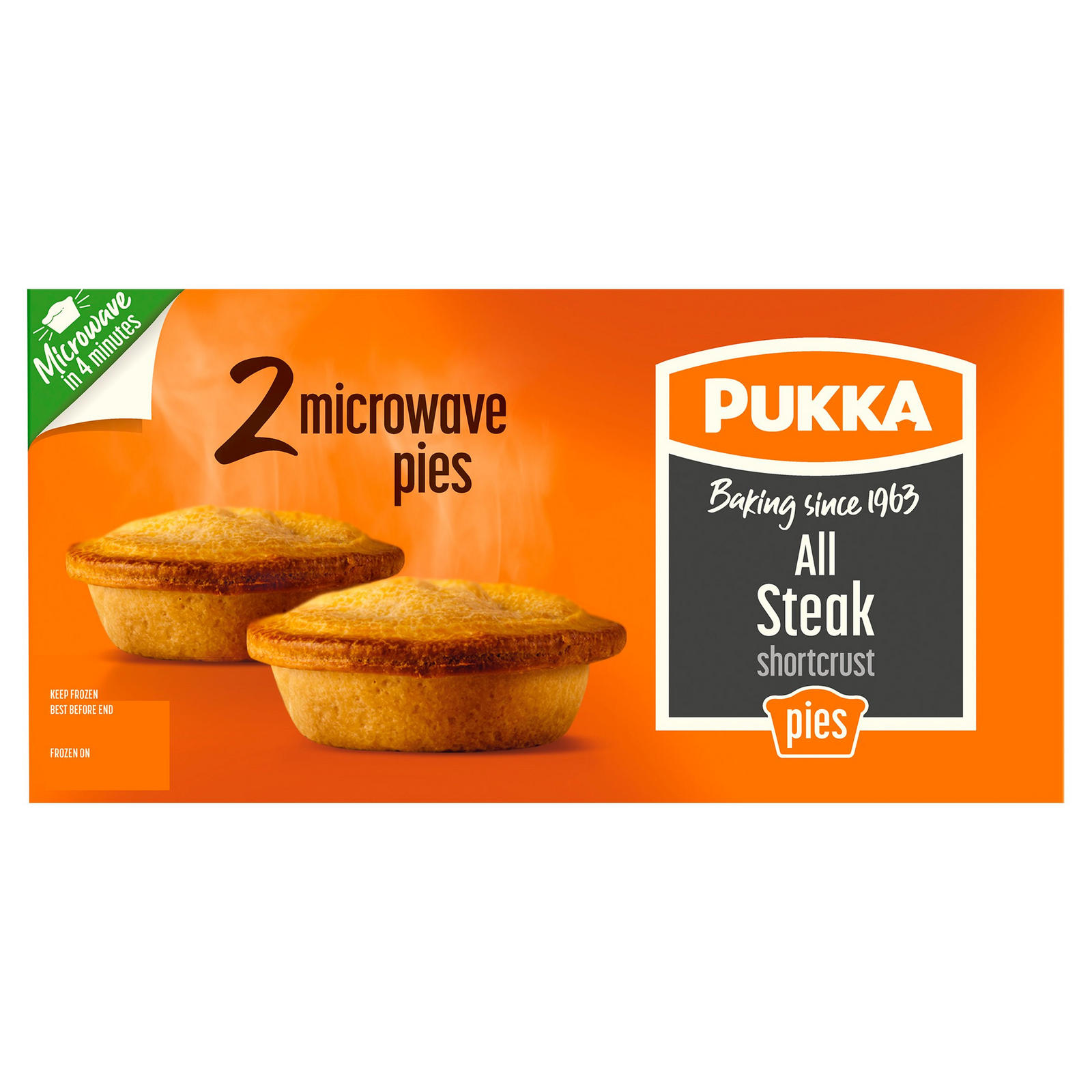 Pukka 2 All Steak Shortcrust Microwave Pies | Pies ...