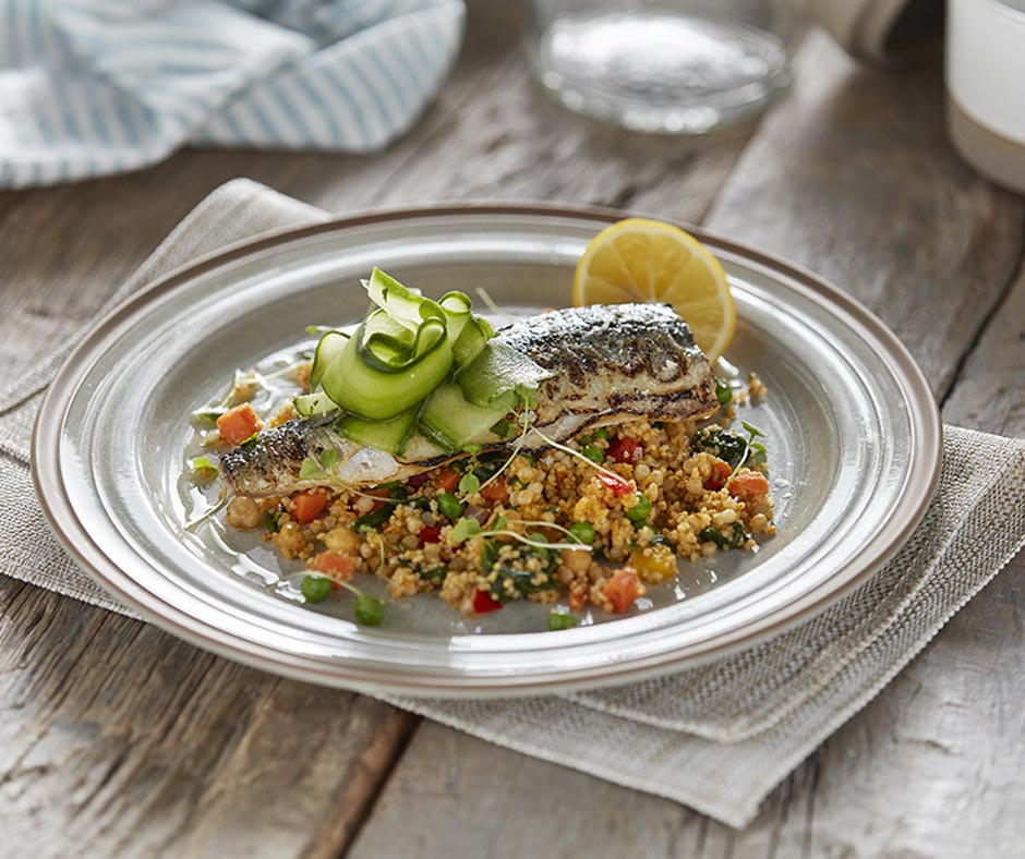 Grilled Mackerel, Couscous & Pickled Cucumber