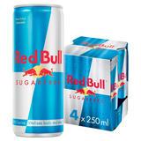 Red Bull Energy Drink, Sugar Free, 250ml (4 Pack)