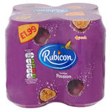 Rubicon Sparkling Passion Fruit Juice Drink 4 x 330ml Cans