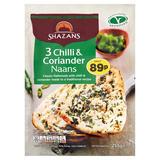 Shazans 3 Chilli & Coriander Naans 255g