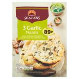 Shazans 3 Garlic Naans 255g
