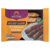 Shazans Micro-Cook 15 Chicken Kebabs Chargrilled 600g