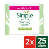 Simple Cleansing Facial Wipes 25 pc