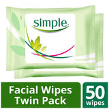 Simple Kind to Skin Cleansing Facial Wipes 2 x 25pc