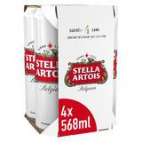 Stella Artois Belgium Premium Lager Beer Cans 4 x 568ml