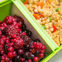 Thumbnail photograph of mixed berries and couscous in a My Bento lunchbox