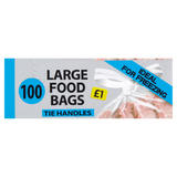 Tie Handles 100 Large Food Bags