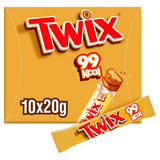Twix 99Kcal Chocolate Biscuit Snack Bars Multipack 10 x 20g
