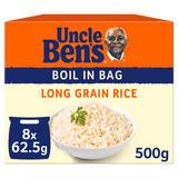 Uncle Bens Boil In Bag Long Grain Rice 8 x 62.5g