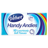 Velvet Handy Andies 10 Luxurious Pocket Pack Tissues 4 Ply