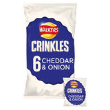 Walkers Crinkles Cheddar & Onion Multipack Crisps 6 x 23g