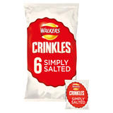 Walkers Crinkles Simply Salted Crisps 6 x 23g