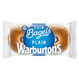 Warburtons 6 Thin Bagels Plain Sliced