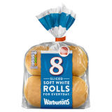 Warburtons 8 Soft White Rolls Sliced