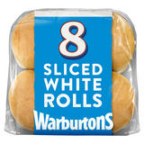 Warburtons 8 Soft White Sliced Rolls