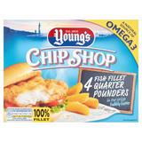 Young's Chip Shop 4 Fish Fillet Quarter Pounders 454g