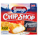 Young's Chip Shop 4 Haddock Fillets in our Crisp Bubbly Batter 400g